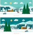 Winter landscape banners Christmas backgrounds vector image vector image
