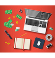 Workplace with different subjects in flat style vector image