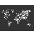 World map mosaic of cog wheels vector image