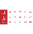 15 office icons vector image vector image