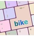 bike word on keyboard key notebook computer vector image vector image