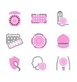 birth control pills icon collection set vector image vector image