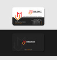 black business card with letter m and house icon vector image vector image