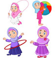 cartoon muslim girls with different hobbies vector image