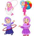 cartoon muslim girls with different hobbies vector image vector image