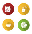 chinese food flat design long shadow glyph icons vector image vector image
