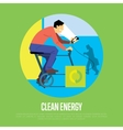 Clean energy concept Man with generator vector image vector image