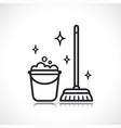 cleaning broom and bucket icon vector image vector image