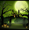 creepy graveyard with castle and pumpkins vector image vector image