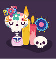 day dead skeleton catrina candle vector image vector image