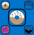 Doughnut icons set vector image