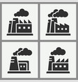 factory building icon set on black vector image