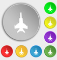 fighter icon sign Symbol on five flat buttons vector image vector image