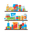 food shelves snack crisp cold soda drinks in vector image vector image