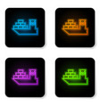 glowing neon cargo ship icon isolated on white vector image