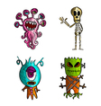 Halloween monsters isolated sketch style creatures vector image vector image
