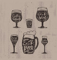 hand drawn craft alcoholic drinks set vector image vector image