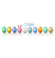happy easter color easter eggs on white background vector image vector image