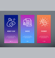 money flow invoice payment vertical cards with vector image vector image