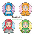moslem girl set cartoon vector image