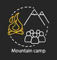 mountain outdoor camp chalk concept icon summer vector image
