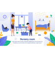 nursery room cleaning flat banner poster vector image vector image