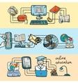 Online education icon sketch banner vector image vector image