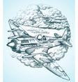 plane in sky round icon vector image vector image