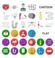 plumbing fitting cartoon icons in set collection vector image vector image