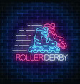 roller derby glowing neon sign on dark brick wall vector image vector image