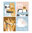 set colored cartoon animals hugging i need a vector image