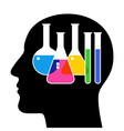 SIlhouette of head with laboratory glassware vector image vector image