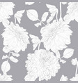 silver dahlia flowers repeat seamless pattern vector image vector image