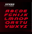 sport font red color alphabet for carting vector image vector image