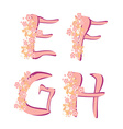 spring alphabet with flowers letters EFGH vector image