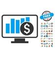 Stock Market Monitoring Icon With 2017 Year Bonus vector image vector image