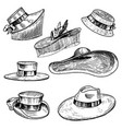 summer hats collection for elegant woman female vector image vector image