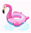 swimming flamingo swim summer water pool vector image vector image