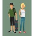 teens girl blonde boy casual outfits with skate vector image vector image