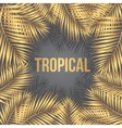 Text Tropical on a background of golden palm vector image vector image