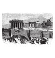the parthenon is temple the greek goddess athena vector image