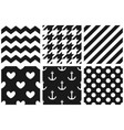 tile pattern set with chevron zig zag polka dots vector image vector image