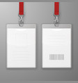 two realistic blank office graphic id cards vector image vector image