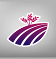 wheat field sign purple gradient icon on vector image vector image
