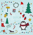 Merry Christmas with set of christmas lettering vector image