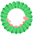 A green leafy border with pink flowers vector image vector image