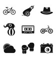 bike ride icons set simple style vector image vector image