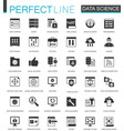 black classic data science data analysis icons vector image