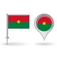 Burkina Faso pin icon and map pointer flag vector image vector image