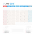 calendar planner for july 2018 vector image vector image